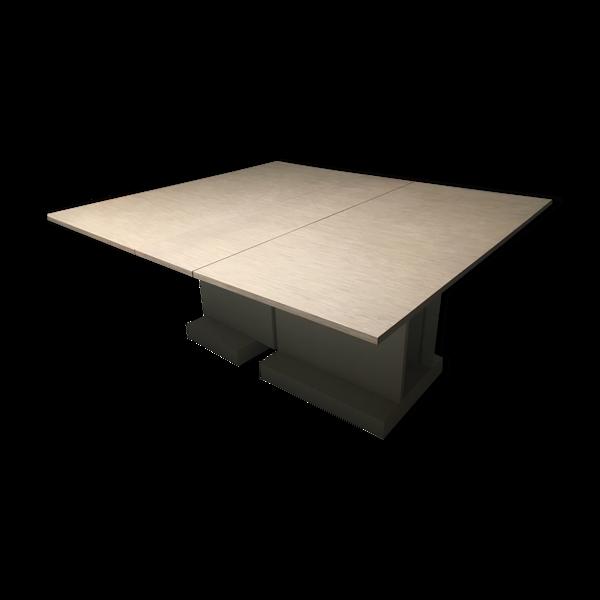Table d'atelier ou à manger rectangulaire pliante en bois de chêne avec roulettes