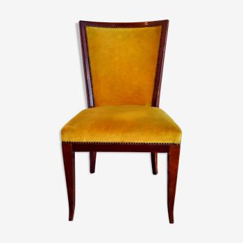 Chaise de bureau années 50 en velours moutarde