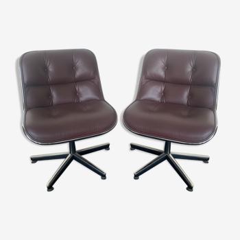 Paire de chaises de bureau Charles Pollock pour Knoll international