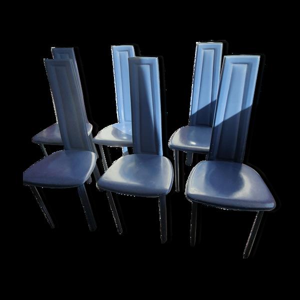 6 chaises cuir de David Lange, 1970/80