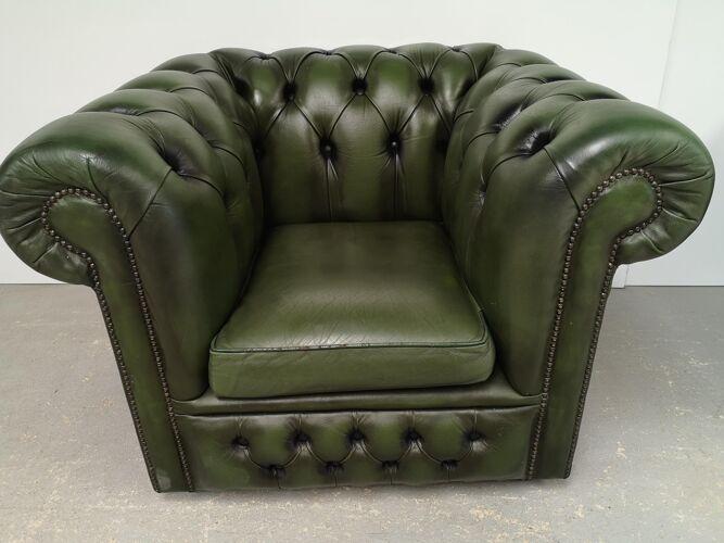 Fauteuil chesterfield cuir vert