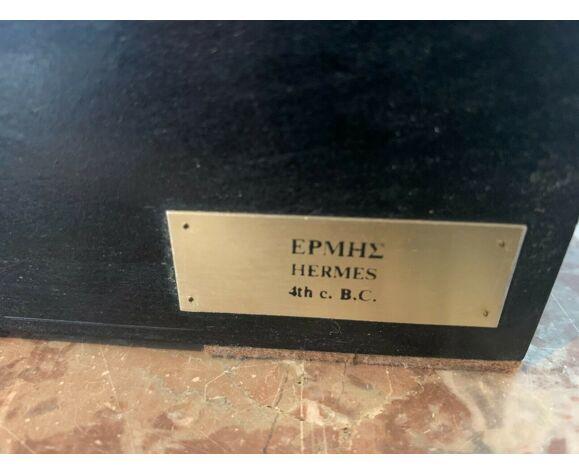 Buste d'Hermès en stuc patiné Socle en bois laqué noir XX siècle