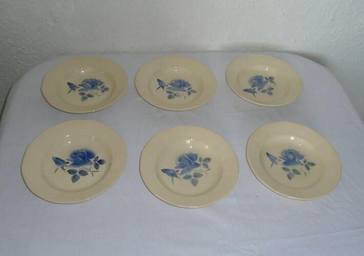 Set de 6 assiettes creuses faience ancienne Digoin Sarreguemines fleurs  bleues
