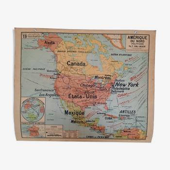 Carte scolaire ancienne de l.'Amérique du Nord, Vidal-Lablache U.S.A. cartonnée