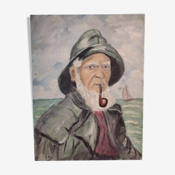 Huile sur toile portrait marin