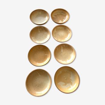 Set de 8 assiettes en grès vintage