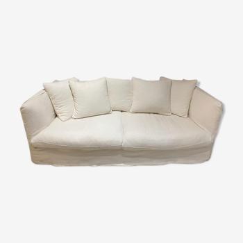 4p convertible white linen sofa