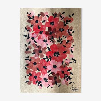 Peinture A5 Fleurs rouges