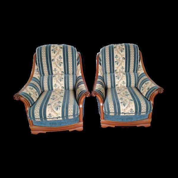 Paire de fauteuils bois et tissu