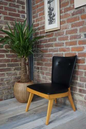1950s wooden and faux black cocktail chair
