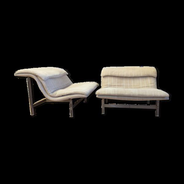 Selency Paire de fauteuils italiens Wave de Giovanni Offredi