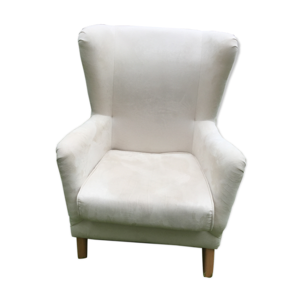 Fauteuil crapaud blanc ivoire