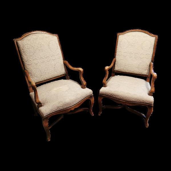 Selency Set de 2 fauteuils anciens régence dossiers plat ancien