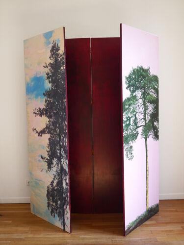 Paravent objet d'art contemporain unique en bois peint