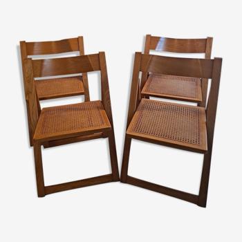 Ensemble de 4 chaises pliantes Aldo Jacober & Pierangela Beech & Cane Trieste