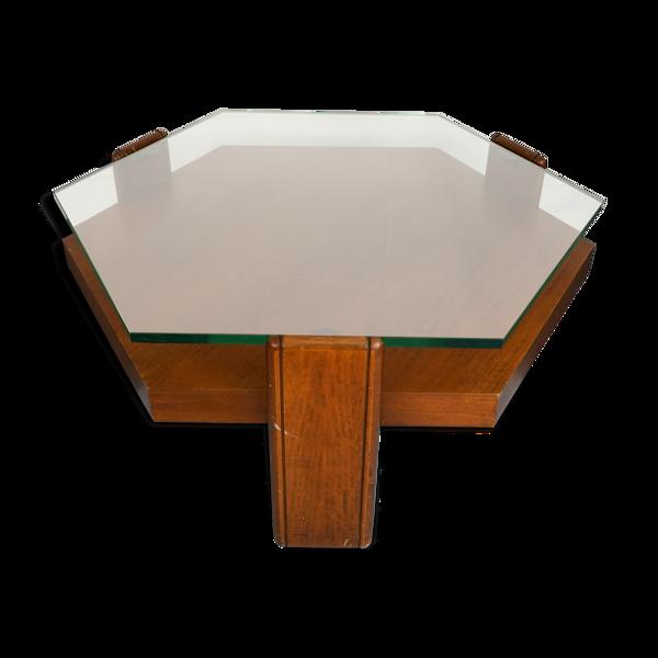Selency Table basse italienne en bois de rose et verre épais des années 70