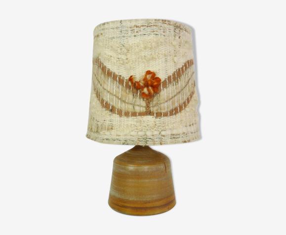 Lampe vintage en grès et abat-jour en laine, année 60