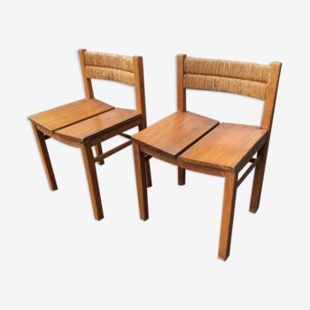 Paire de chaises paille et orme
