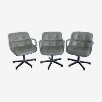 Suite de trois fauteuils Charles Pollock pour Knoll international