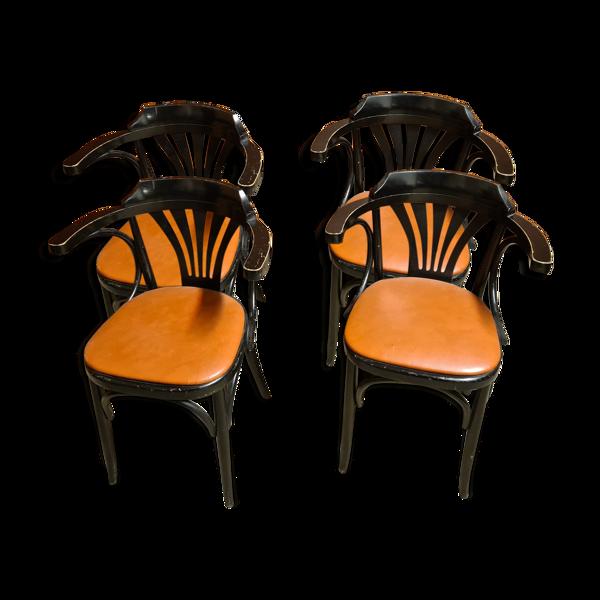 Série de 4 fauteuils bistrot bridge
