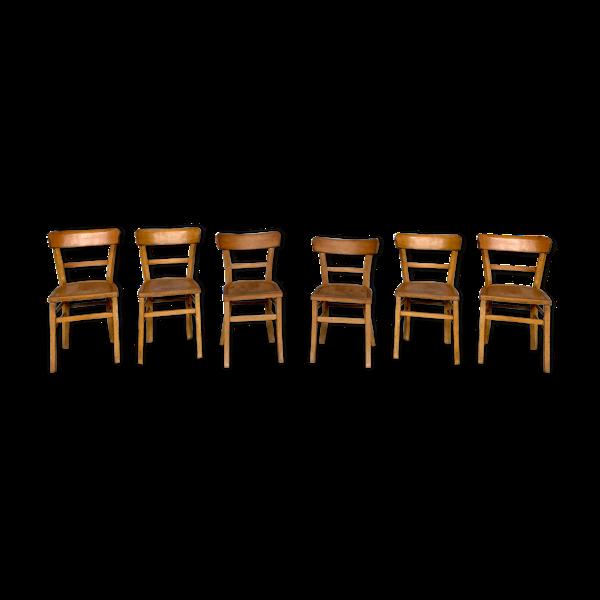 Série de 6 chaises bistrot en bois