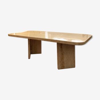 Table basse design minimaliste en pierre de travertin écru