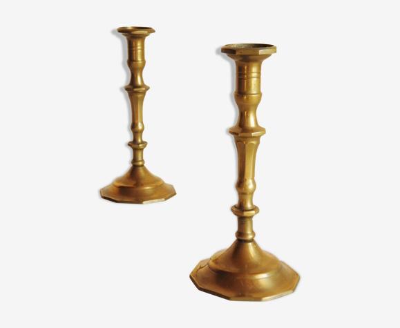 Paire de chandeliers en laiton années 70