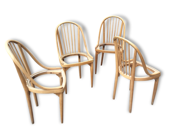 Selency Lot de quatre chaises en hêtre ceinturé