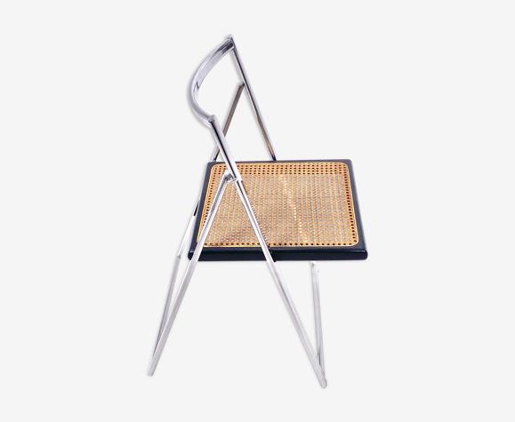 Chaise pliante vintage en chrome et cannage 1970