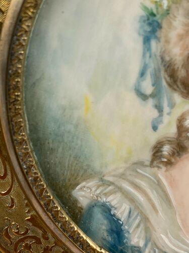 Femme du xviii eme par clo moret costume d epoque cadre laiton