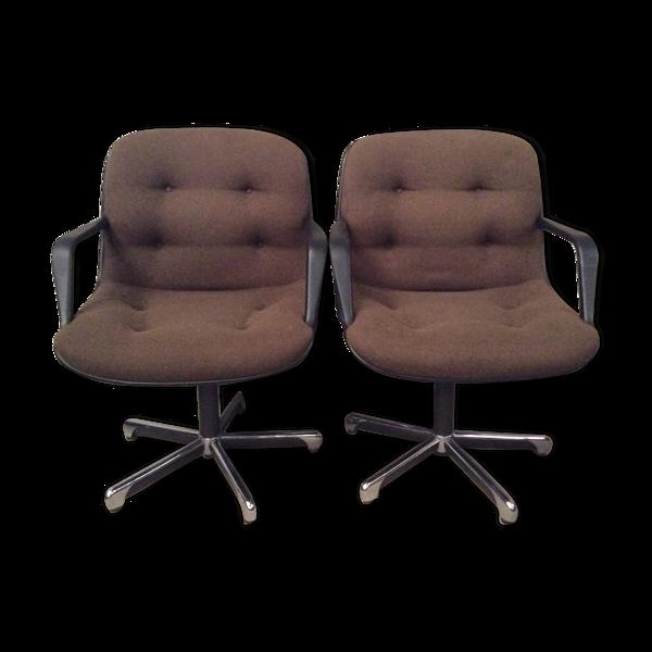 Paire de fauteuils de bureau Randall Buck 1975 Steelcase Strafor