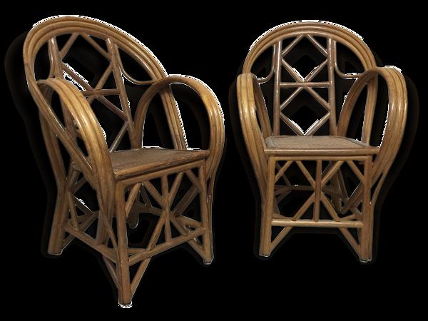 Selency Paire de fauteuil vintage en rotin