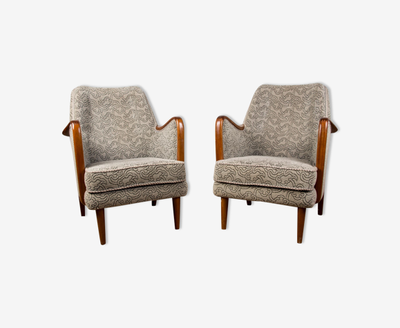 Pair of Danish Heaters in Teck and Fabric by Borge Christoffersen 1960.