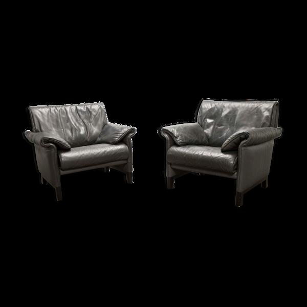 Paire de fauteuils De Sede ds-14b cuir