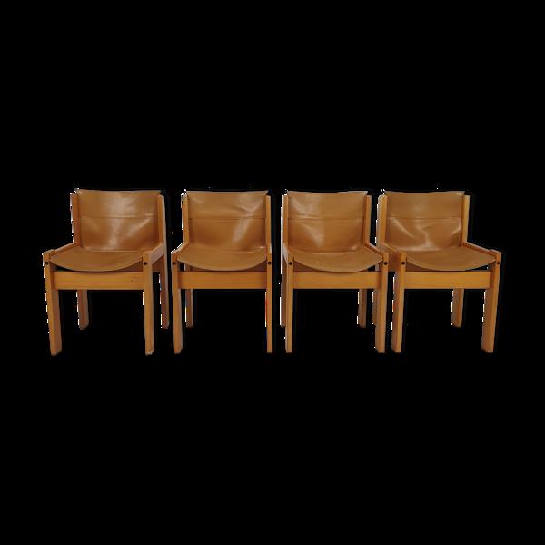 Selency Ensemble de 4 chaises à manger Ibisco en cuir Italie, années 1970