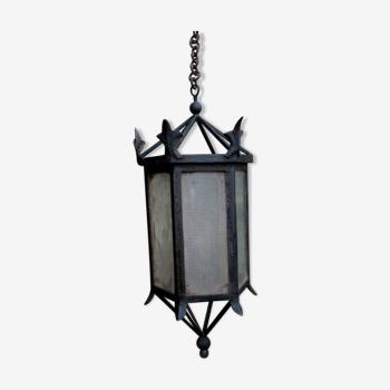 ancient hexagonal wrought iron lantern, decoration lily flowers- 19th century