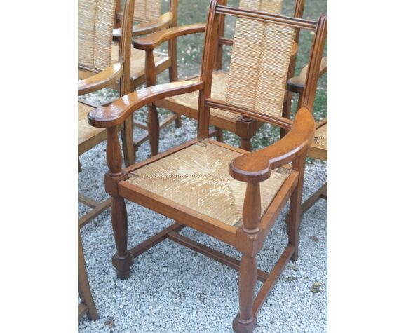 6 armchairs year 40 solid oak seat and mulched backrest