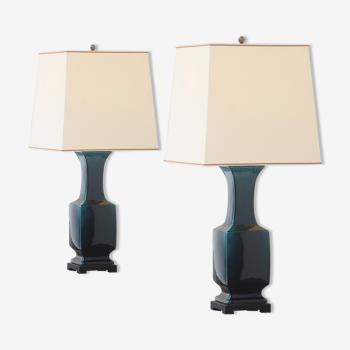 Paire de lampes chinoises décoratives 1970