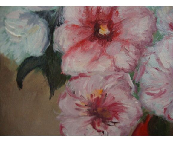 Oil on canvas painting bouquet of flowers, signed and dated