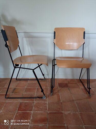 Paire de chaises vintage Stoll Giroflex par Albert stoll