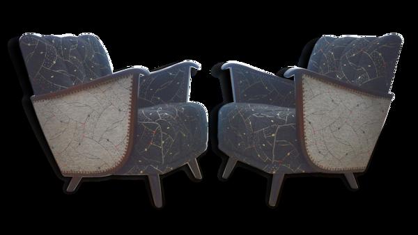 1/2 Tres beaux fauteuils originaux des années 50 ailes de chauve souris