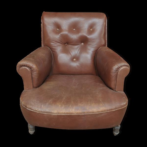 Selency Fauteuil en cuir 1900 structure en chêne
