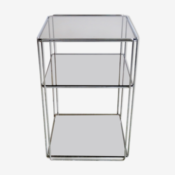 Side table Vintage Chrome & glass top by Max Sauze, Isocèle edition