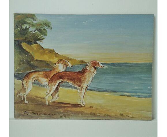 Peinture ancienne chiens et paysage