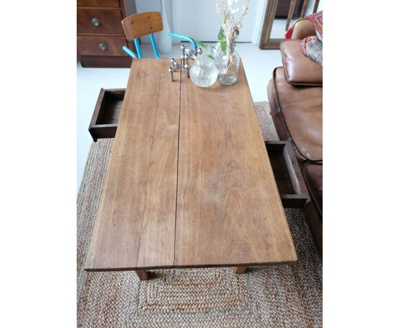 Table basse de ferme chêne massif