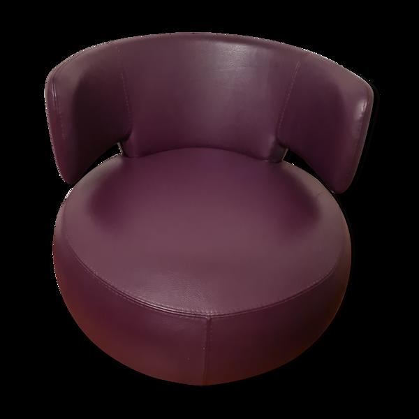 Fauteuil curl Roche Bobois en cuir avec son coussin en cuir