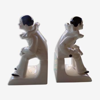 Ancienne paire de serre-livre Art Déco Pierrot