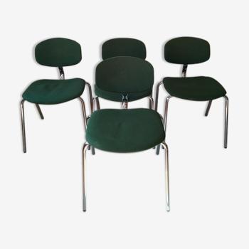 4 chaises vertes vintage strafor steelcase chrome