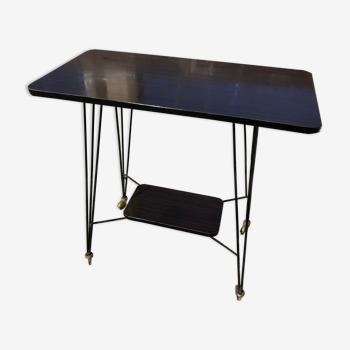 Sellette Table Hifi Sur Roulettes Pieds Eiffel Metal Noir Vintage