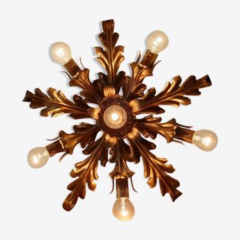 Applique ou plafonnier en métal doré Florence années 60